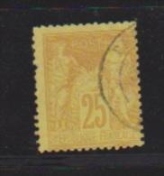 25 Centimes Bistre Sur Jaune //  N 92  //  Côte 5 €uros - 1876-1878 Sage (Type I)
