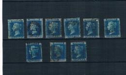 Gran Bretaña. Conjunto De 9 Sellos De 2 P. Azul Diferentes Planchas - 1840-1901 (Regina Victoria)
