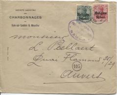 TP Oc 11-14 s/L.Publicitaire S.A. Charbonnages de Ham S/Sambre&Moustier en 1917 censure Namur v.Anvers PR917