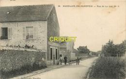 Cpa 91 Marolles En Hurepoix, Rue De La Lun, Animation Devant Le Café De L'Alun, Belle Carte Pas Courante écrite 1916 - France