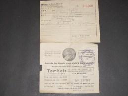 2 DOCUMENTS.1- Ministère Du Ravitaillement Service Enquête Arbrefontaine.2-Amicale Des Hospitalisés à St Laurent Tombola - 1939-45