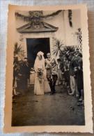 FOTO ORIGINALE MATRIMONIO 1937  UFFICIALE E SPOSA SALUTO FASCISTA ?? - Guerre, Militaire