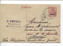 Entier 10 Cent En 18 Via Etappen Inspection Gand De Swysen Mouscron V.Anvers Post..33 PR922 - German Occupation