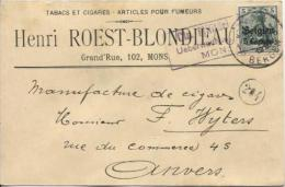 TP Oc 2 S/CP Publicitaire Tabacs&Cigare C.&censure Mons En 1916 PR924 - Tabac