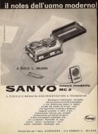 # SANYO RECORDER ITALY 1950s Advert Pubblicità Publicitè Reklame Publicidad Radio Registratore TV Televisione Television - Non Classificati