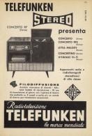 # TELEFUNKEN GIRADISCHI TURNTABLE ITALY 1950s Advert Pubblicità Publicitè Reklame Drehscheibe Radio TV Television - Radio & TSF
