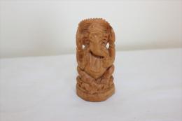 Statuette Ganesh Hauteur 7 Cm En Bois - Art Oriental