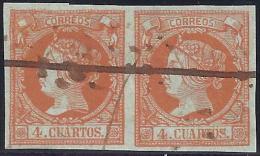 ESPAÑA 1860 - Edifil #52Ma Par Con Raya Horizontal En Tinta Negra !Raros! - 1850-68 Reino: Isabel II