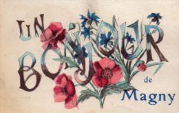 Cpa 1919, MAGNY, Yonne, Un Bonjour De Magny, Coquelicots, Bleuets;   (39.8) - Altri Comuni