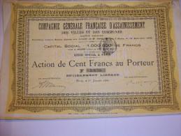 2590  -- Cie Gale FRANCAISE D´ASSAINISSEMENT Des Villes Et Communes - Capital 1.000.000 De Frs Action De 100 Frs - Shareholdings