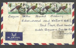 USED AIR MAIL COVER  SIERRA LEONE  BIRDS ON  COVER - Sierra Leone (1961-...)