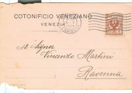 COTONIFICIO VENEZIANO, VENEZIA,  CARTOLINA COMMERCIALE VIAGGIATA  1914, PER RAVENNA, - Venezia