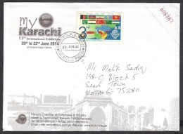 PAKISTAN - MY KARACHI Exhibition 2014 Souvenir Cover Postal Used With ECO 2007 Withdrawn Stamp Affixed - Pakistán
