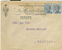 LA MERVEILLEUS, CONFEZIONI PER SIGNORA, TORINO, BUSTA COMMERCIALE  VIAGGIATA  1923, PER TREVISO - Non Classificati
