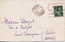 CARTE - LETTRE    -    PARIS Pour St POURCAIN - Sur - SIOULE   -    1940 - Marcofilie (Brieven)