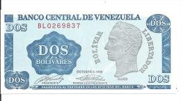 VENEZUELA Banco Central Billet De 2 Dos Bolivares Bolivar Liertador ( Bleu Dominant  ) - Venezuela
