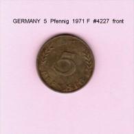GERMANY   5 PFENNIG  1971 F  (KM # 107) - 5 Pfennig