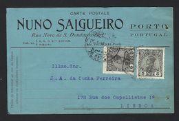 POSTAL COMERCIAL 1910 C/publicidade NUNO SALGUEIRO Rua Nova De S.Domingos PORTO Portugal (2 Selos D.Manuel) - Porto