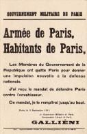 Cpsm  Affichette De La Déclaration Du Général GALLIENI Au Nom Du Gouvernement Milit. De Paris  (39.23) - Vari