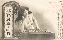 """LE DAMIER JEU DE DAME PAR BERGERET """" LES JEUX """" 1900 - Chess"""