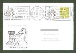 Schach Ajedrez Echecs Chess Spain 1987 Sevilla  Postmark Match Karpov - Kasparov CKM 8770A On Souvenir Poscard Gone Post - Schaken