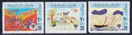Libya, Scott # 810a,b,d MNH Childrens Drawings, 1979, #810d Has Short Perf - Libya