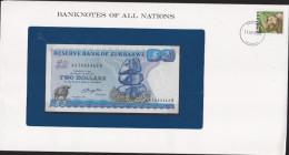 ZIMBABWE P-1a 2 Dollars 1980 ON COVER NICE UNC CONDITION BANKNOTE - Zimbabwe