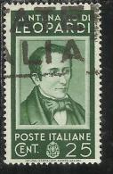 ITALIA REGNO ITALY KINGDOM 1937 CENTENARI UOMINI ILLUSTRI LEOPARDI FAMOUS MEN CENT. 25 USATO USED - 1900-44 Vittorio Emanuele III
