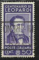 ITALIA REGNO ITALY KINGDOM 1937 CENTENARI UOMINI ILLUSTRI LEOPARDI FAMOUS MEN CENT. 50 USATO USED - 1900-44 Vittorio Emanuele III