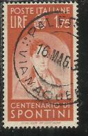 ITALIA REGNO ITALY KINGDOM 1937 CENTENARI UOMINI ILLUSTRI SPONTINI FAMOUS MEN LIRE 1,75 USATO USED - 1900-44 Vittorio Emanuele III