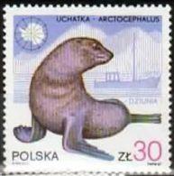 Poland 1987 Mint - Mi#3080 - 30 Zł - Wildlife And Ships - Arctocephalus, Research Boat Dziunia - Antarctic Wildlife