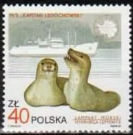 Poland 1987 Mint - Mi#3081 - 40 Zł - Wildlife And Ships - Hydrurga Leptonyx, Ship Kapitan Ledóchowski - Antarctic Wildlife