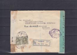 Jordanie - Lettre Recommandée De 1944 - Avec Censure - Expédié Vers La Belgique - Mr William - Négociant  Et Expert - Jordanie