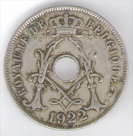 BELGIO 25 CENTS 1922 - 1909-1934: Alberto I