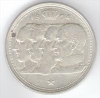 BELGIO 100 FRANCS 1954 AG SILVER - 1951-1993: Baldovino I