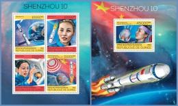 gu14120ab Guinea 2014 Space Shenzhou 10 2 s/s