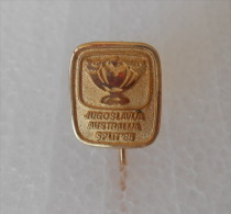 TENNIS - DAVIS CUP 1985. match Yugoslavia - Australia ( Yugoslavian rare pin ) badge sport tenis anstecknadel distintivo