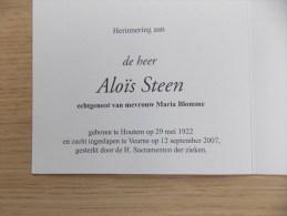 Doodsprentje Aloïs Steen Houtem 29/5/1922 Veurne 12/9/2007 ( Maria Blomme ) - Religion & Esotérisme
