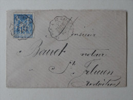 Ambulant Le Puy A St Etienne Sur 15 C Sage 1893 - Marcophilie (Lettres)
