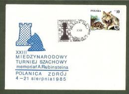 Schach Echecs Poland 1985 Chess Postmark CKM8561 Int. Tourn. In Polanica Zdroj On Souvenir Cover - Schaken