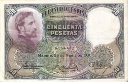BILLETE DE 50 PTAS DE 1931 E. ROSALES SIN SERIE CALIDAD MBC   (BANKNOTE) - [ 1] …-1931 : Primeros Billetes (Banco De España)