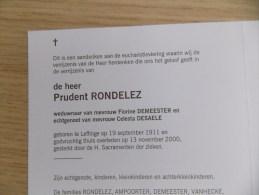 Doodsprentje Prudent Rondelez Leffinge 19/9/1911 - 13/11/2000 ( Florine Demeester En Celesta Desaele ) - Religione & Esoterismo