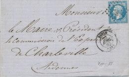 N°14 SUR LETTRE NUANCE CACHET A DATE . - 1853-1860 Napoléon III