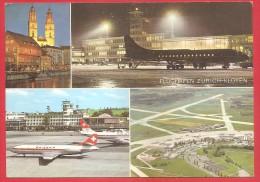 CARTOLINA VG SVIZZERA - AEROPORTO DI ZURIGO KLOTEN - Aereo - Swissair - 10 X 15 - ANNULLO TARGHETTA ZURIGO 1966 TASSATA - Aérodromes