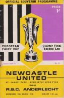 Official Football Programme NEWCASTLE UNITED - RSC ANDERLECHT Belgium European Fairs Cup Quarter Final 1970 Very Rare - Uniformes Recordatorios & Misc
