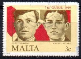 MALTA 1985 66th Anniv Of 7 June 1919 Demonstrations - 3c Guzeppi Bajada And Manwel Attard (victims)  FU - Malta