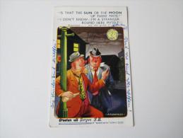 """Bamforth Comic No. 1616 """"is That The Sun Or The Moon?"""" Betrunkene Männer. Groeten Uit Bergen N.H. - Humor"""
