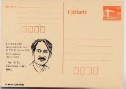 DDR P86I-5-86 C3 Postkarte PRIVATER ZUDRUCK BARBUSSE ESPERANTO-BUCH 1986 - Esperanto
