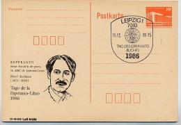 ESPERANTO-BUCH BARBUSSE DDR P86I-5-86 C3 Postkarte PRIVATER ZUDRUCK Sost. 1986 - Esperanto