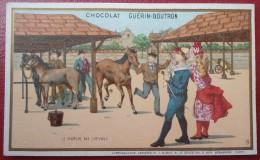 - CHOCOLAT GUERIN-BOUTRON - LE MARCHE AUX CHEVAUX - Lithographie Artistique  J.MINOT - Guérin-Boutron
